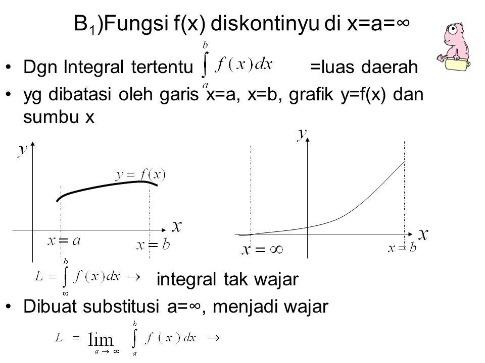 B1)Fungsi f(x) diskontinyu di x=a=∞