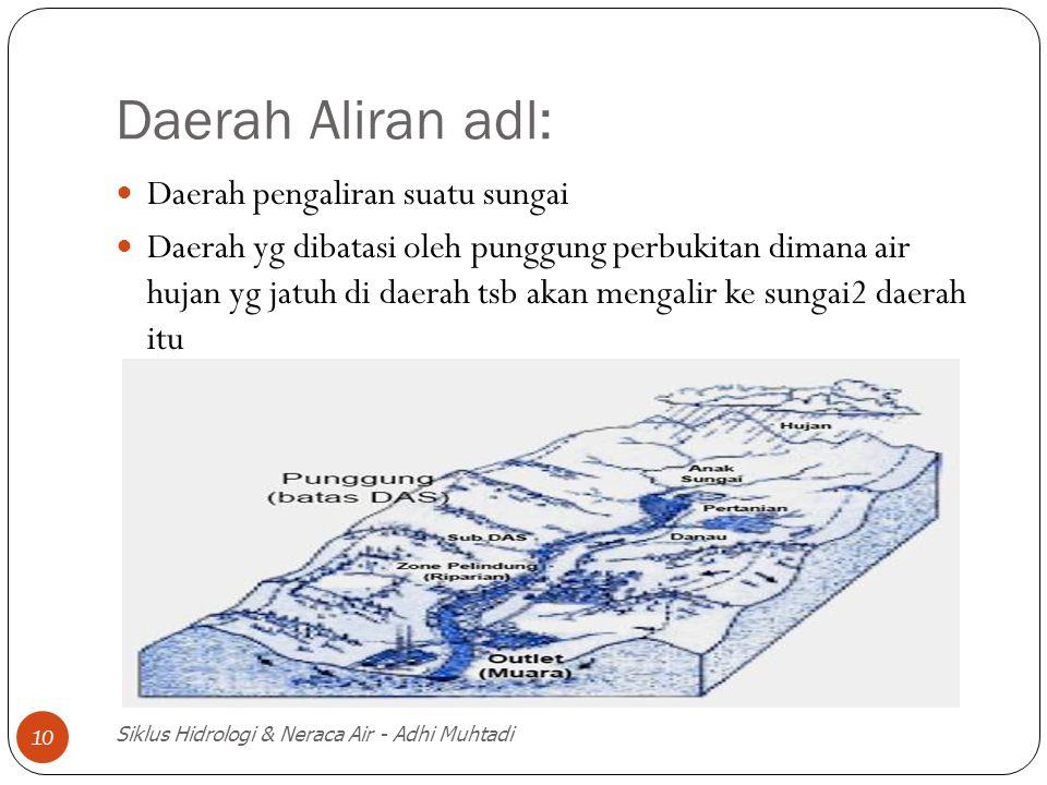 Daerah Aliran adl: Daerah pengaliran suatu sungai
