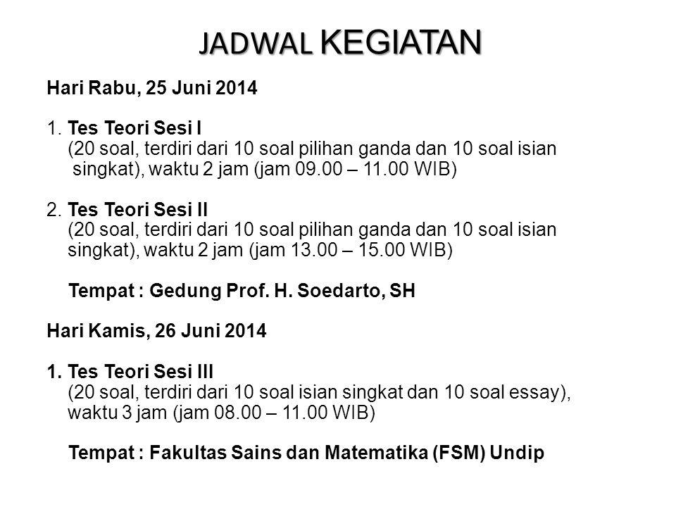 JADWAL KEGIATAN Hari Rabu, 25 Juni 2014 Tes Teori Sesi I