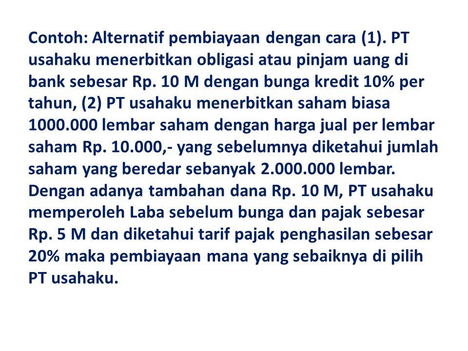 Contoh: Alternatif pembiayaan dengan cara (1)