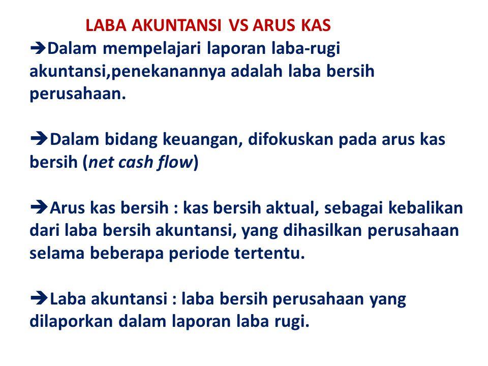 LABA AKUNTANSI VS ARUS KAS Dalam mempelajari laporan laba-rugi akuntansi,penekanannya adalah laba bersih perusahaan.
