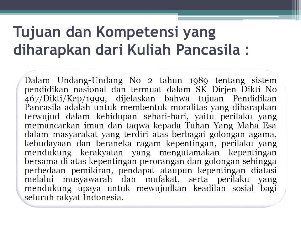 Tujuan dan Kompetensi yang diharapkan dari Kuliah Pancasila :