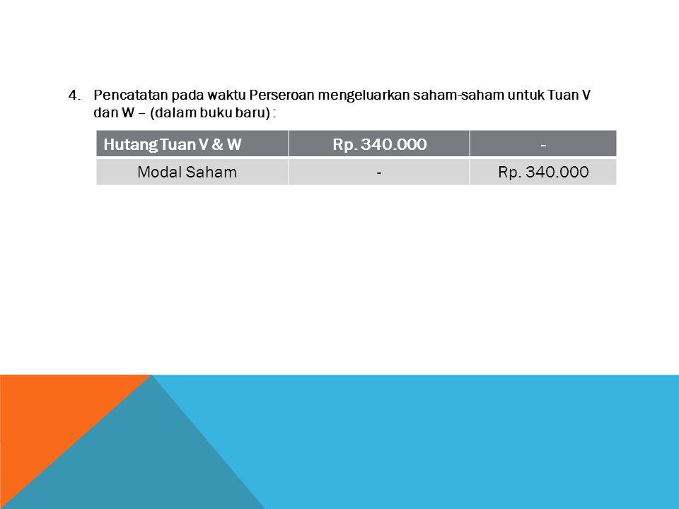 Hutang Tuan V & W Rp. 340.000 - Modal Saham