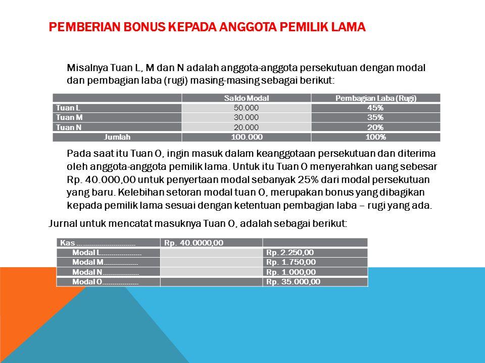 Pemberian bonus kepada anggota pemilik lama