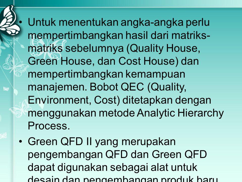 Untuk menentukan angka-angka perlu mempertimbangkan hasil dari matriks-matriks sebelumnya (Quality House, Green House, dan Cost House) dan mempertimbangkan kemampuan manajemen. Bobot QEC (Quality, Environment, Cost) ditetapkan dengan menggunakan metode Analytic Hierarchy Process.