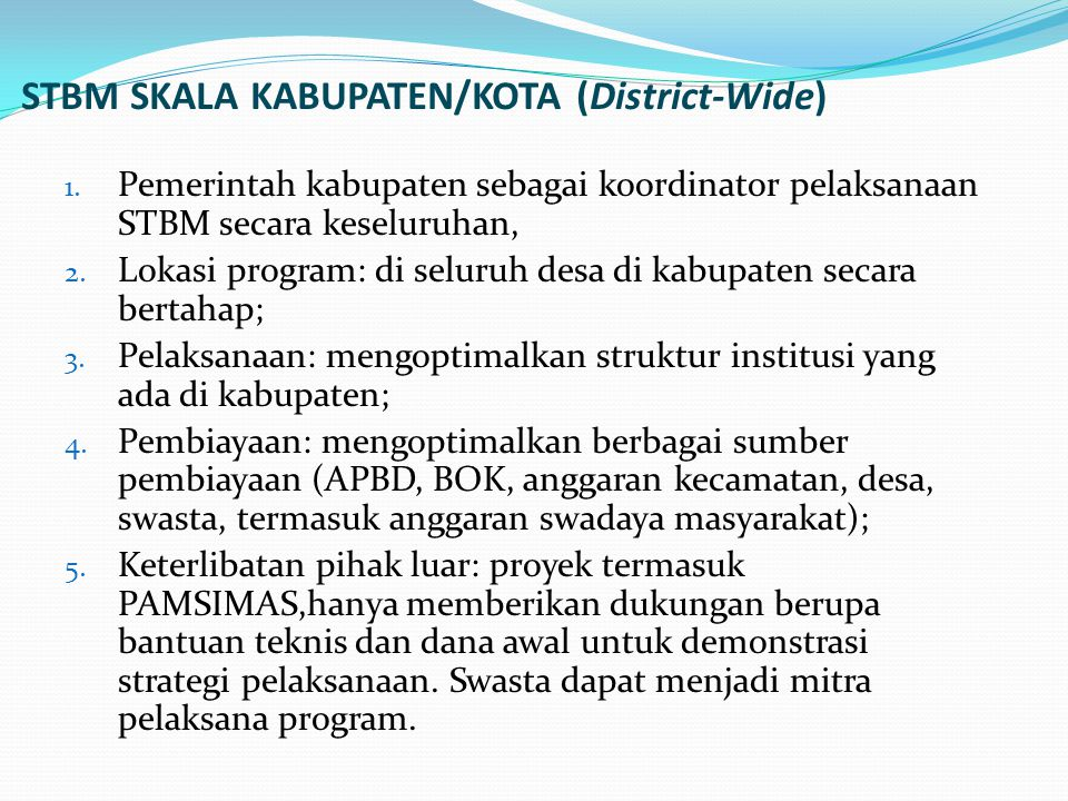 STBM SKALA KABUPATEN/KOTA (District-Wide)