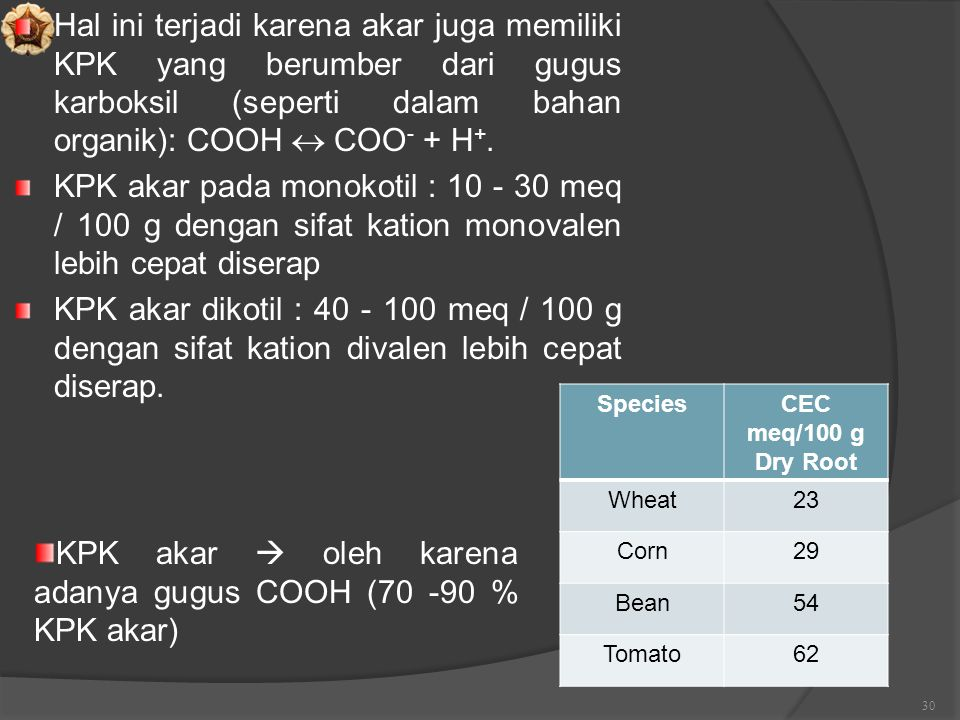 KPK akar  oleh karena adanya gugus COOH (70 -90 % KPK akar)