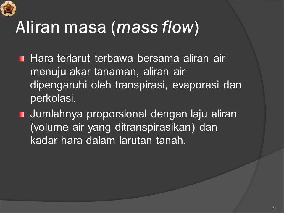 Aliran masa (mass flow)