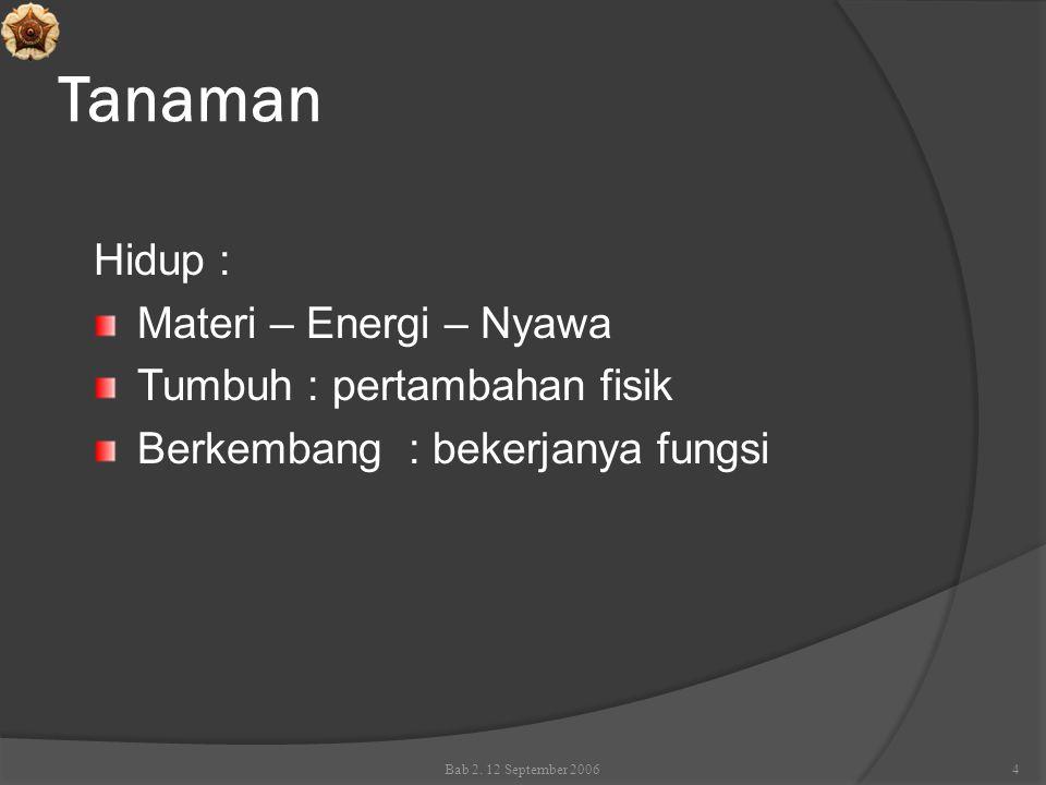 Tanaman Hidup : Materi – Energi – Nyawa Tumbuh : pertambahan fisik