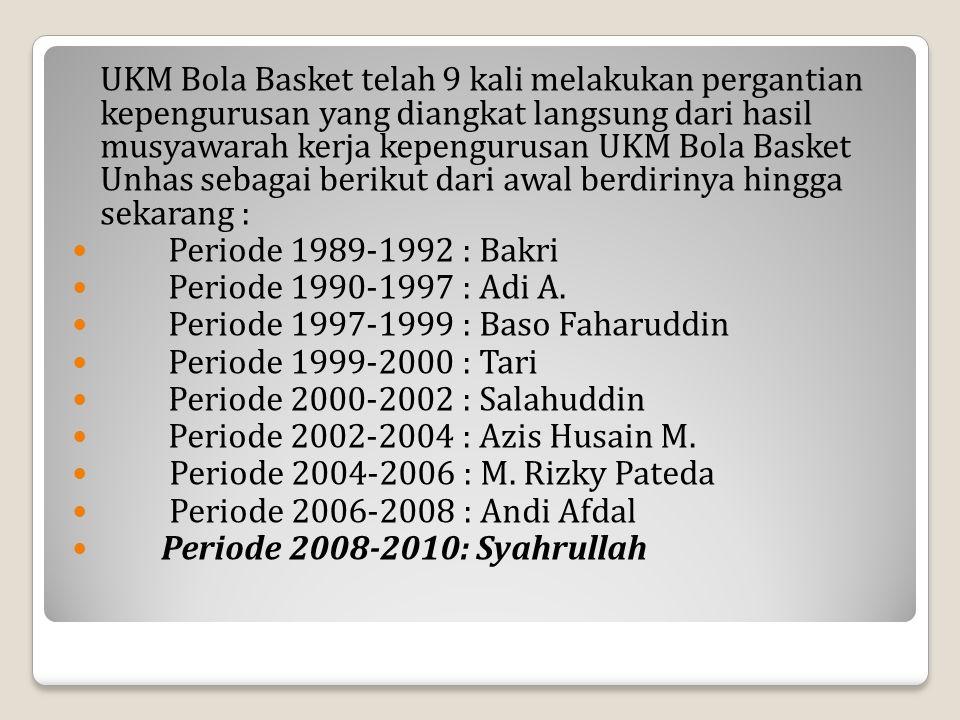 UKM Bola Basket telah 9 kali melakukan pergantian kepengurusan yang diangkat langsung dari hasil musyawarah kerja kepengurusan UKM Bola Basket Unhas sebagai berikut dari awal berdirinya hingga sekarang :