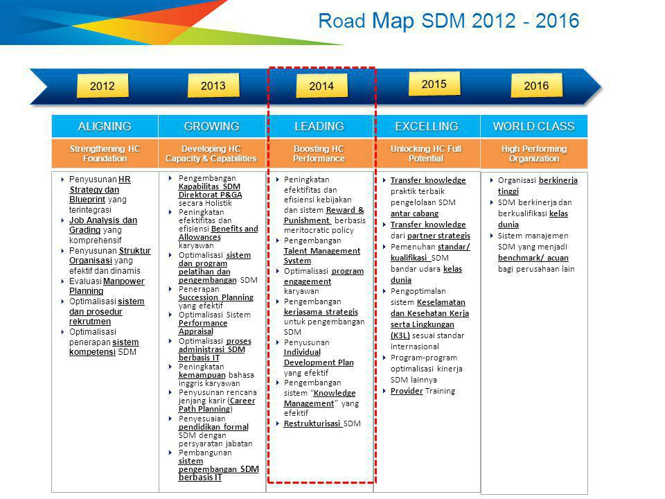 Road Map SDM 2012 - 2016 2012 2013 2014 2015 2016 ALIGNING GROWING