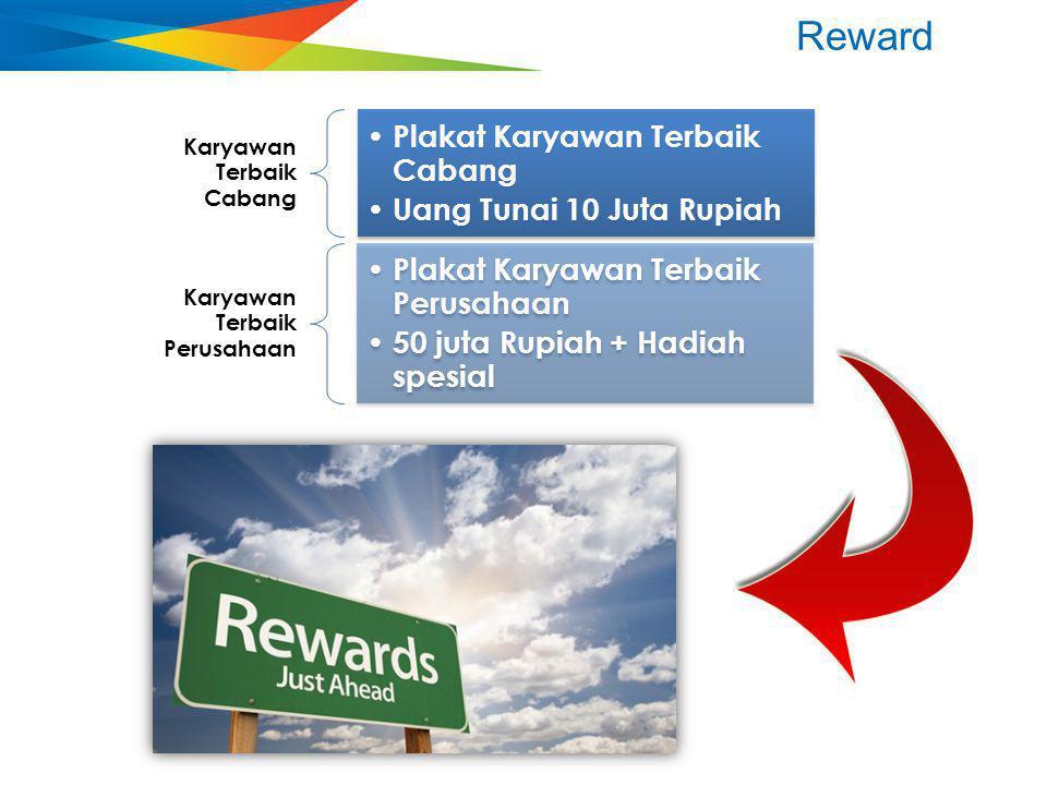 Reward Plakat Karyawan Terbaik Cabang Uang Tunai 10 Juta Rupiah