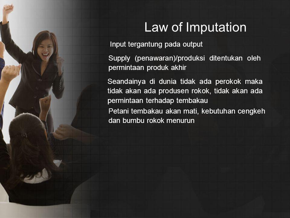 Law of Imputation Input tergantung pada output