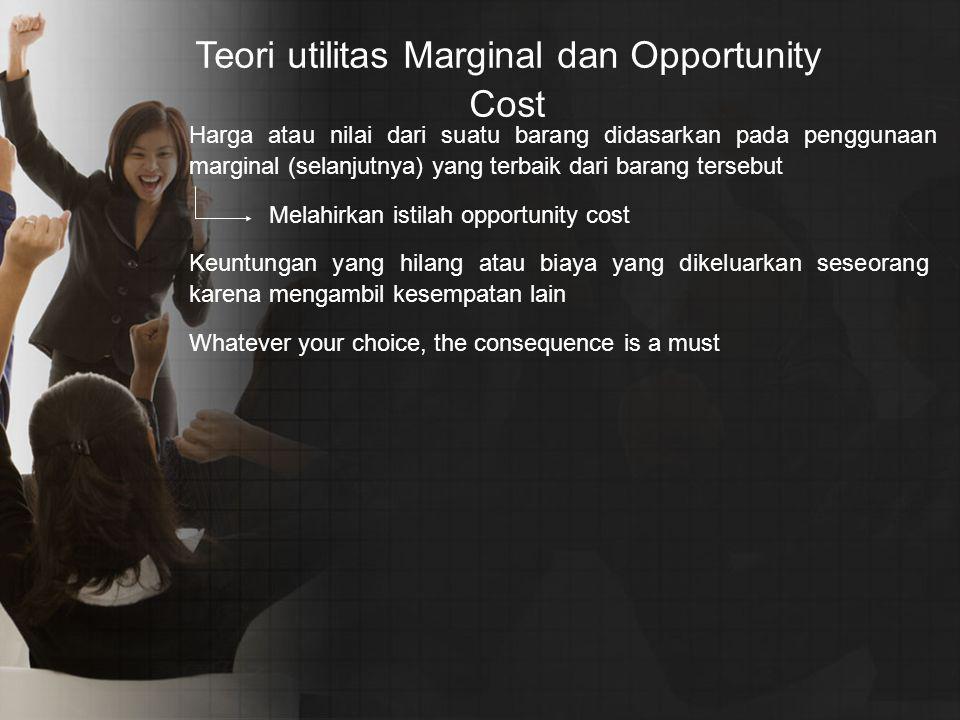 Teori utilitas Marginal dan Opportunity Cost