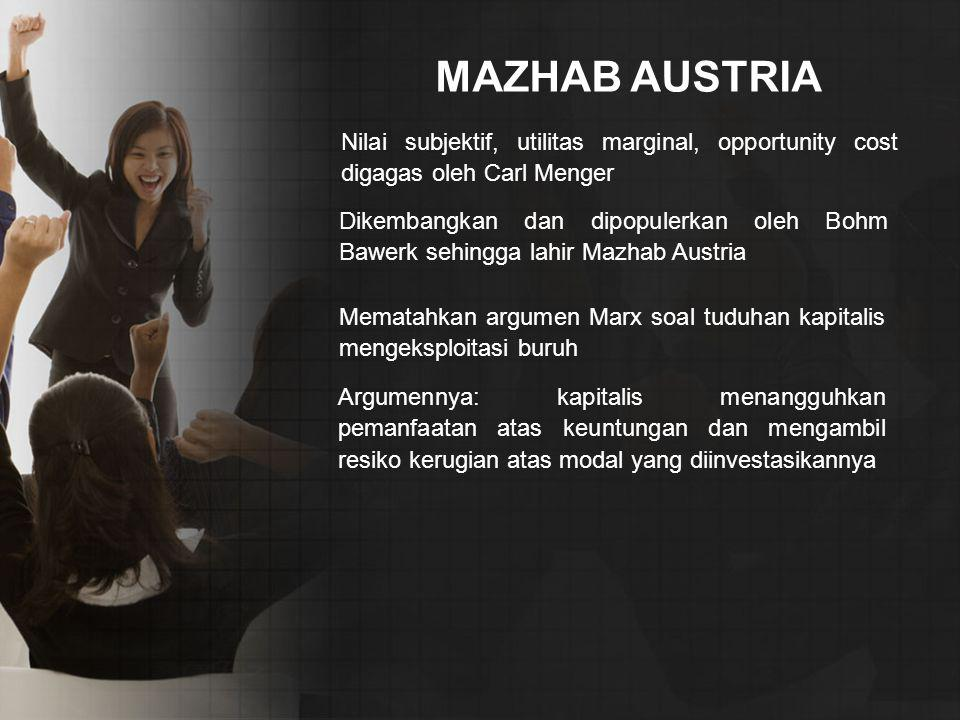 MAZHAB AUSTRIA Nilai subjektif, utilitas marginal, opportunity cost digagas oleh Carl Menger.