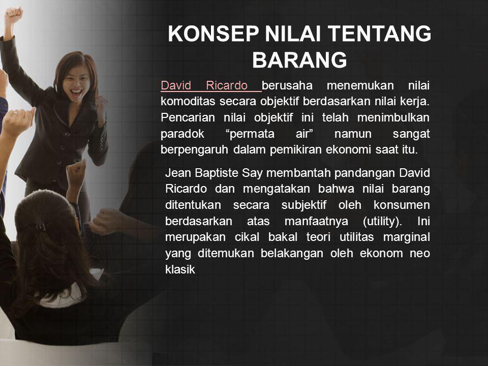 KONSEP NILAI TENTANG BARANG