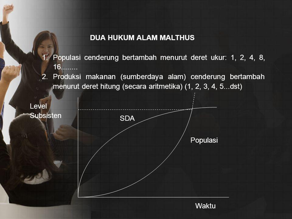DUA HUKUM ALAM MALTHUS Populasi cenderung bertambah menurut deret ukur: 1, 2, 4, 8, 16........