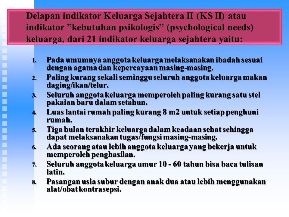 Delapan indikator Keluarga Sejahtera II (KS II) atau indikator kebutuhan psikologis (psychological needs) keluarga, dari 21 indikator keluarga sejahtera yaitu: