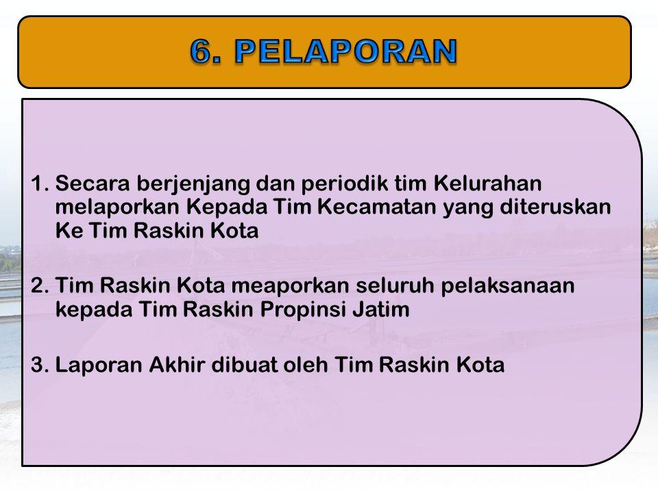 6. PELAPORAN Secara berjenjang dan periodik tim Kelurahan melaporkan Kepada Tim Kecamatan yang diteruskan Ke Tim Raskin Kota.