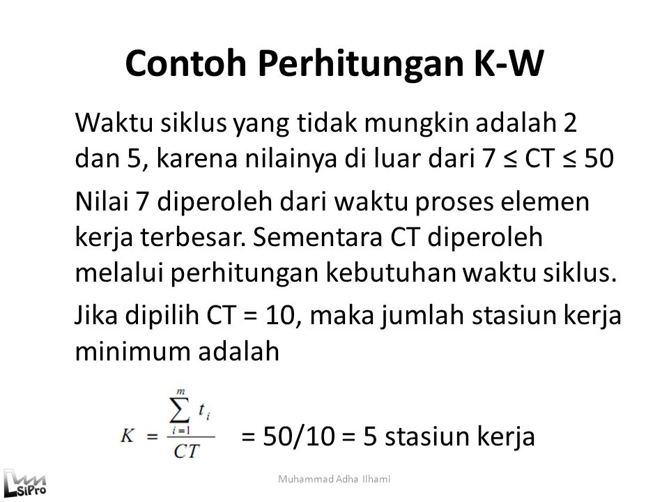 Contoh Perhitungan K-W