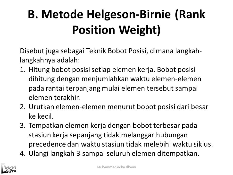 B. Metode Helgeson-Birnie (Rank Position Weight)