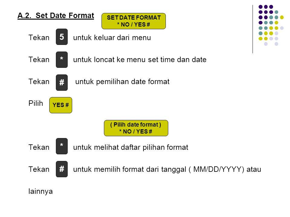 A.2. Set Date Format Tekan untuk keluar dari menu Tekan untuk loncat ke menu set time dan date Tekan untuk pemilihan date format Pilih Tekan untuk melihat daftar pilihan format Tekan untuk memilih format dari tanggal ( MM/DD/YYYY) atau lainnya