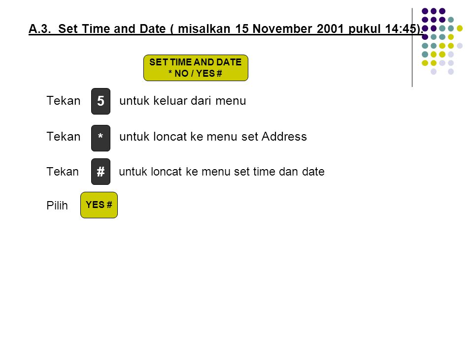 5 * # A.3. Set Time and Date ( misalkan 15 November 2001 pukul 14:45).