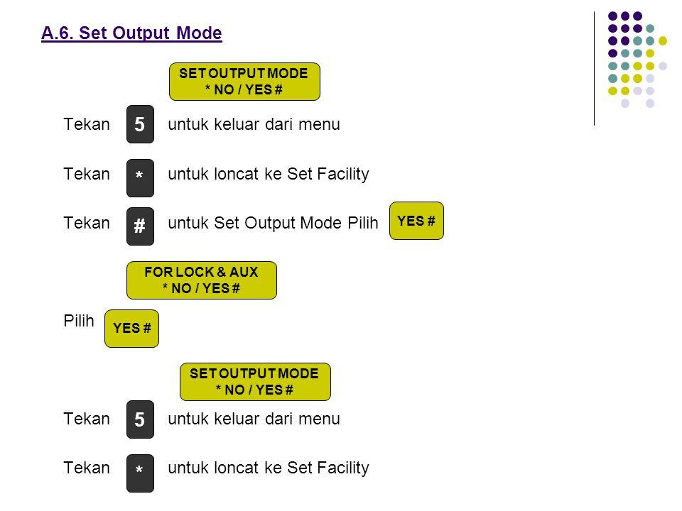 5 * # 5 * A.6. Set Output Mode Tekan untuk keluar dari menu