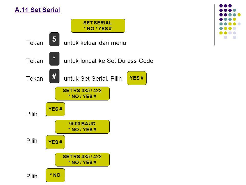 5 * # A.11 Set Serial Tekan untuk keluar dari menu