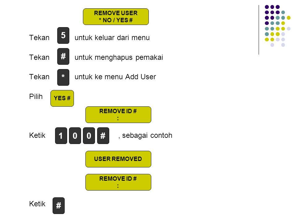 5 # * 1 # # Tekan untuk keluar dari menu Tekan untuk menghapus pemakai