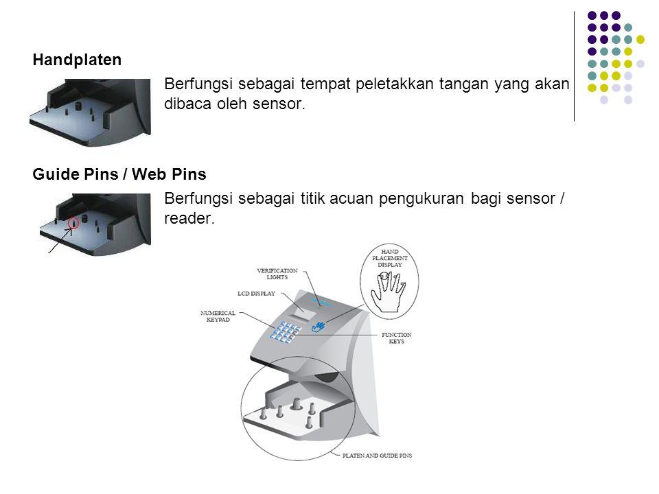 Handplaten Berfungsi sebagai tempat peletakkan tangan yang akan dibaca oleh sensor.