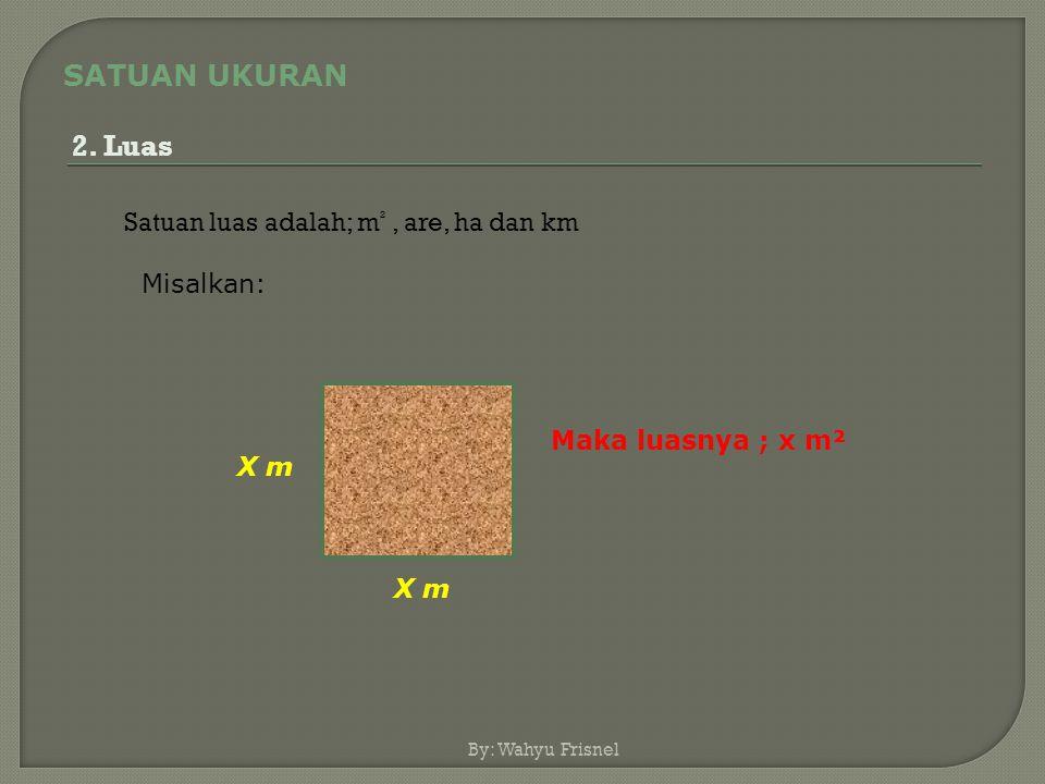SATUAN UKURAN 2. Luas Satuan luas adalah; m² , are, ha dan km