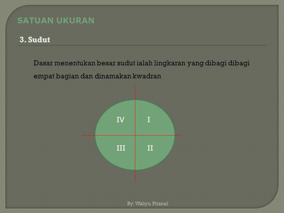 SATUAN UKURAN 3. Sudut. Dasar menentukan besar sudut ialah lingkaran yang dibagi dibagi empat bagian dan dinamakan kwadran.
