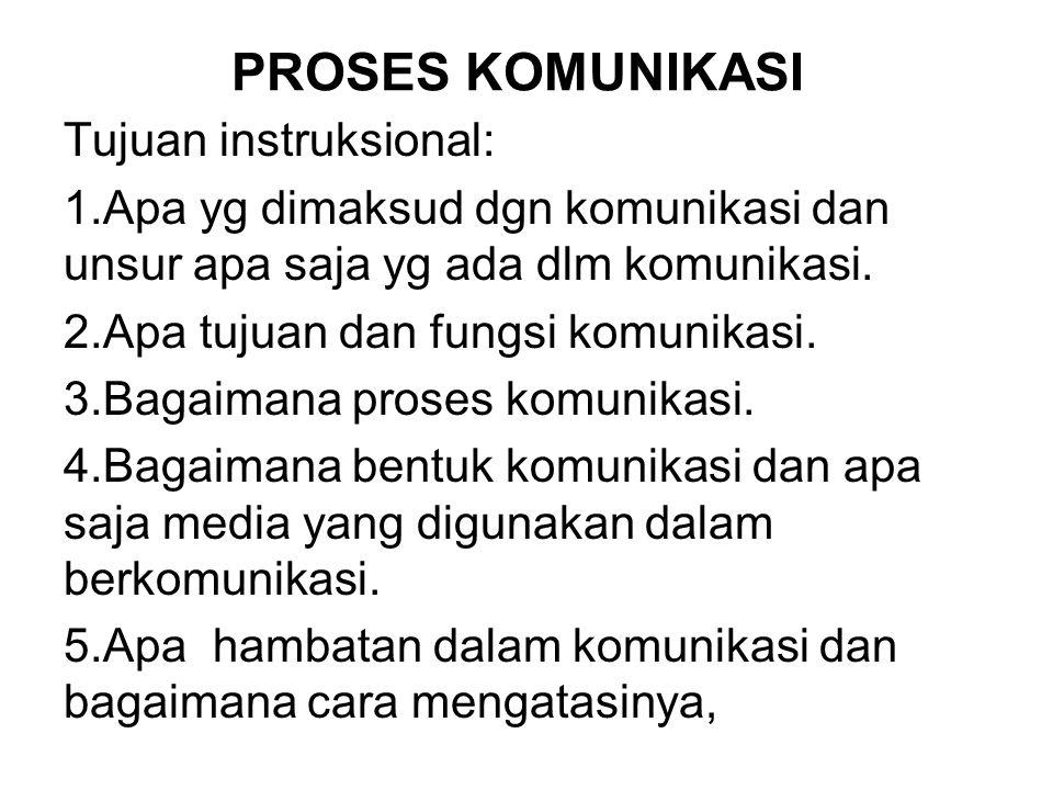 PROSES KOMUNIKASI Tujuan instruksional: