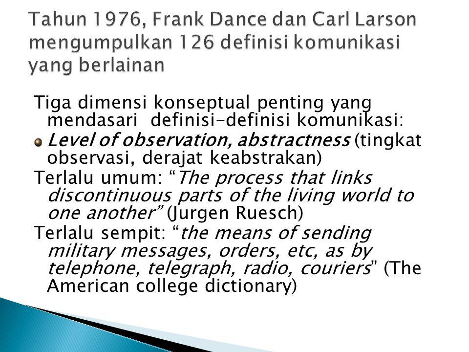 Tahun 1976, Frank Dance dan Carl Larson mengumpulkan 126 definisi komunikasi yang berlainan
