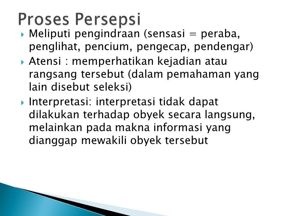 Proses Persepsi Meliputi pengindraan (sensasi = peraba, penglihat, pencium, pengecap, pendengar)