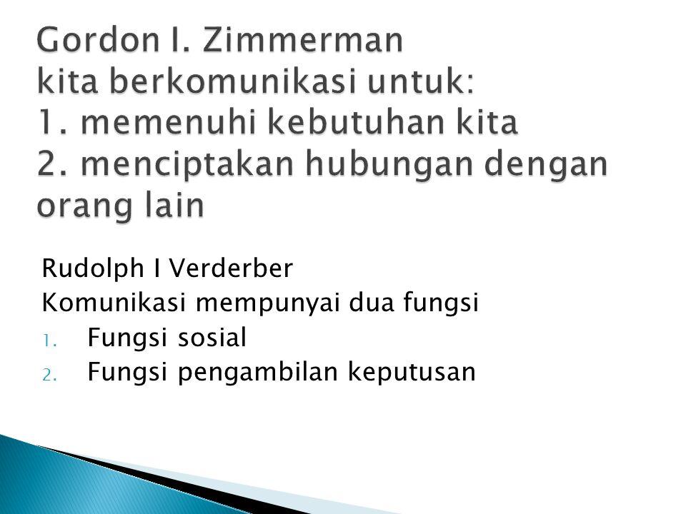 Gordon I. Zimmerman kita berkomunikasi untuk: 1