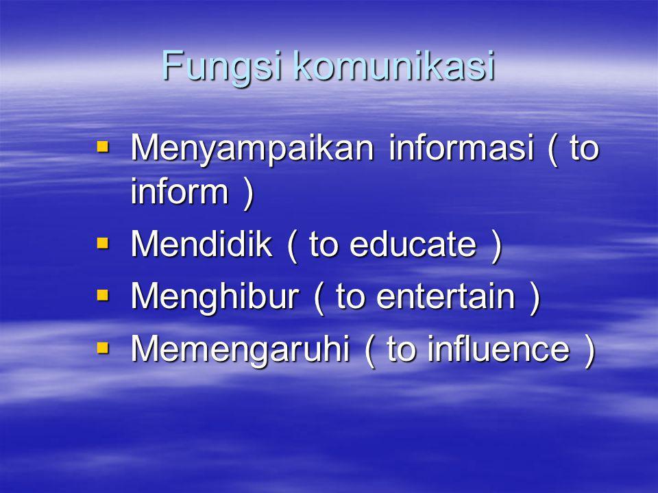 Fungsi komunikasi Menyampaikan informasi ( to inform )