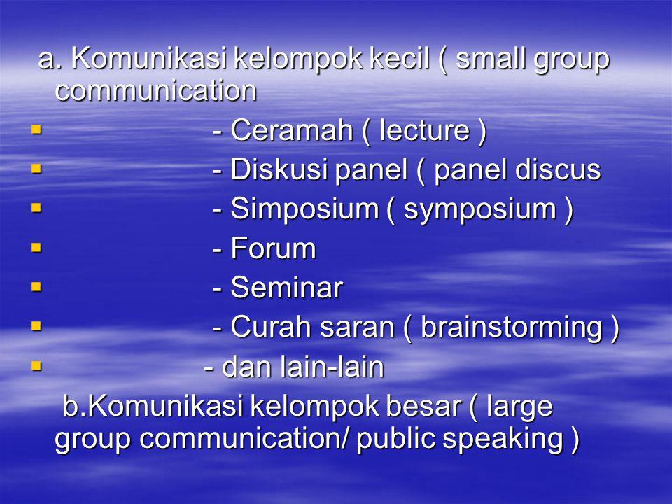 a. Komunikasi kelompok kecil ( small group communication