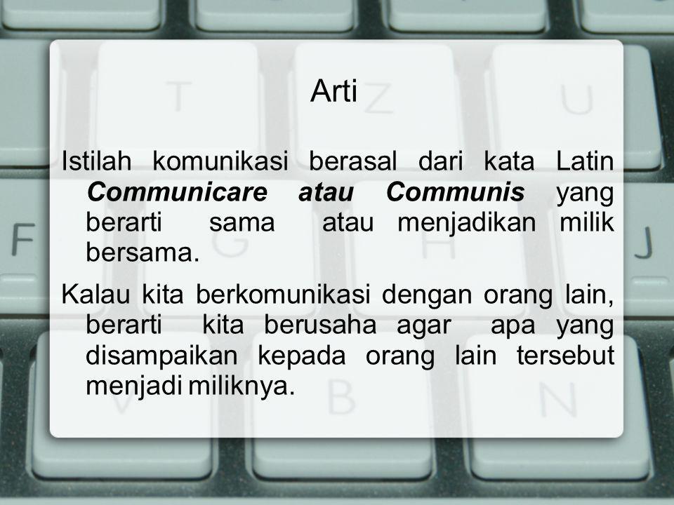Arti Istilah komunikasi berasal dari kata Latin Communicare atau Communis yang berarti sama atau menjadikan milik bersama.