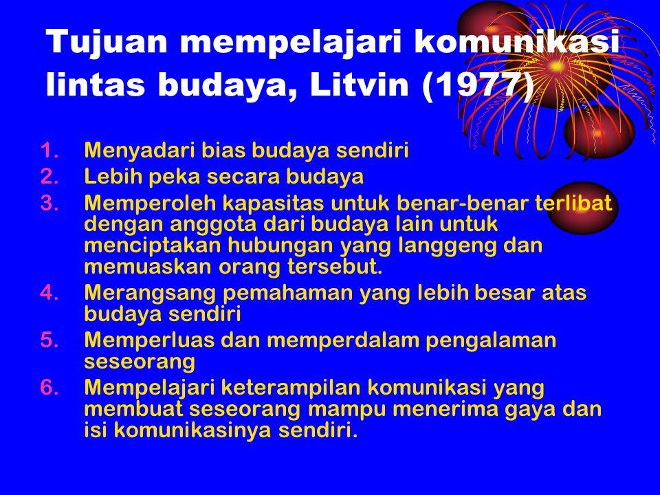 Tujuan mempelajari komunikasi lintas budaya, Litvin (1977)