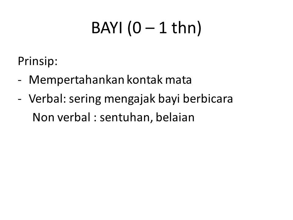BAYI (0 – 1 thn) Prinsip: Mempertahankan kontak mata