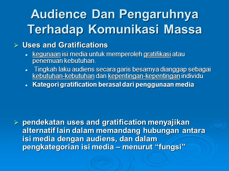 Audience Dan Pengaruhnya Terhadap Komunikasi Massa