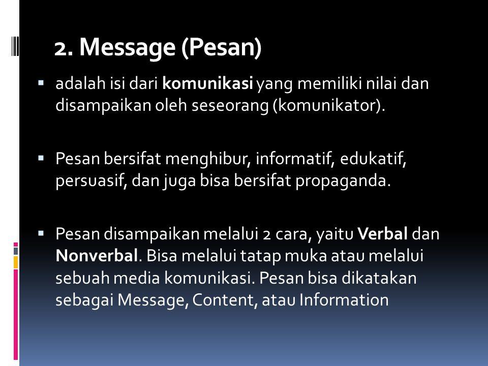 2. Message (Pesan) adalah isi dari komunikasi yang memiliki nilai dan disampaikan oleh seseorang (komunikator).