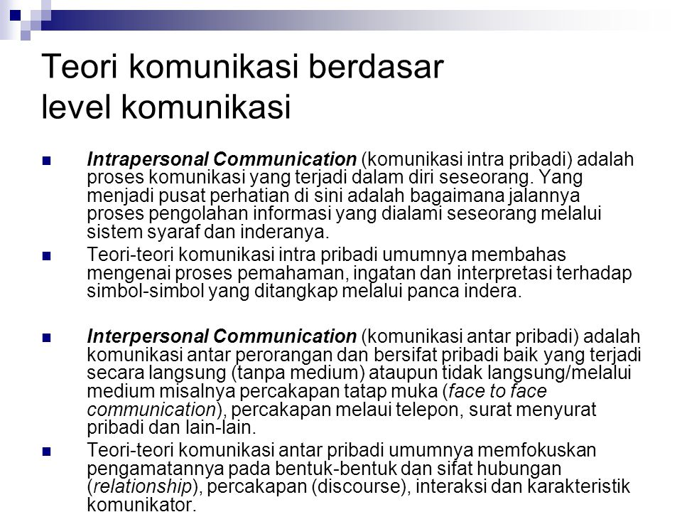 Teori komunikasi berdasar level komunikasi