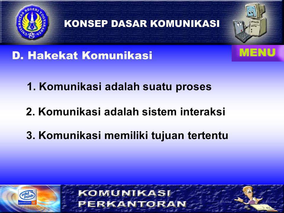 1. Komunikasi adalah suatu proses
