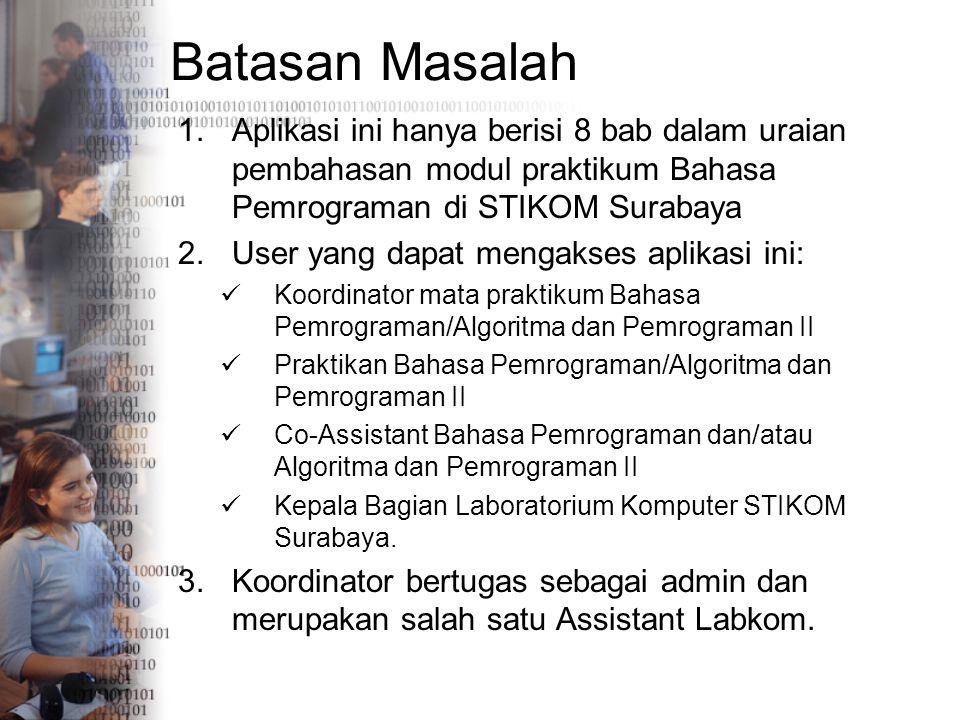 Batasan Masalah Aplikasi ini hanya berisi 8 bab dalam uraian pembahasan modul praktikum Bahasa Pemrograman di STIKOM Surabaya.