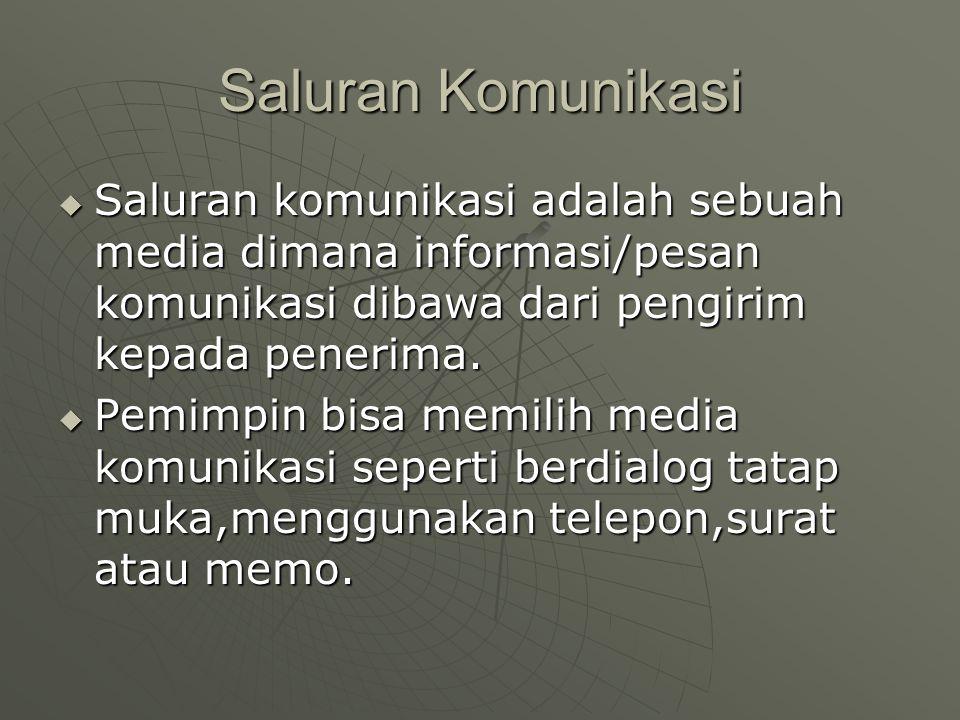 Saluran Komunikasi Saluran komunikasi adalah sebuah media dimana informasi/pesan komunikasi dibawa dari pengirim kepada penerima.