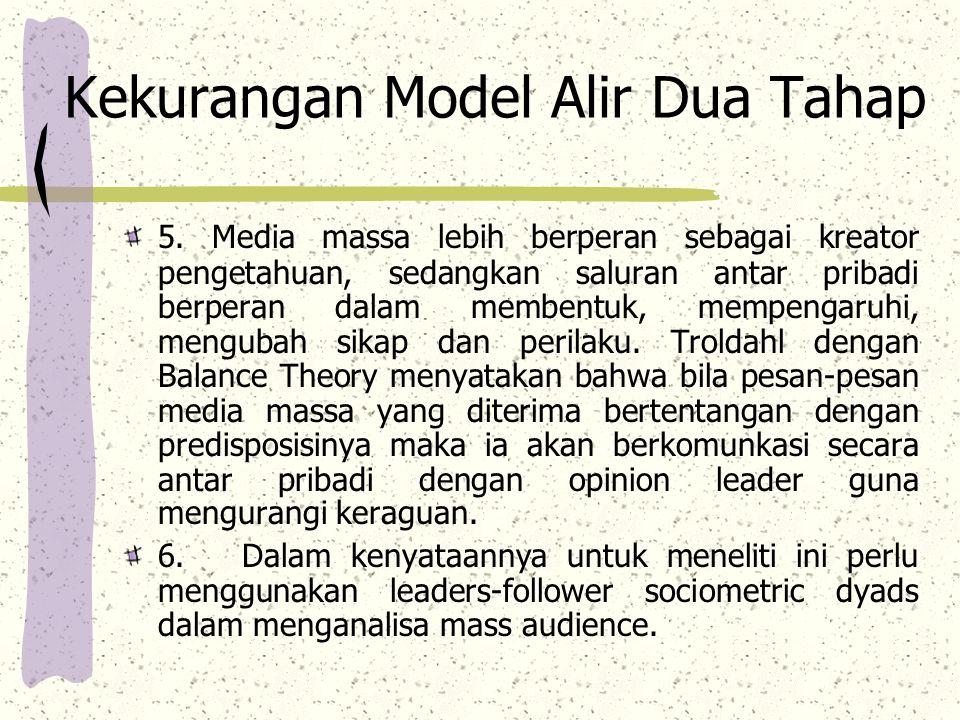 Kekurangan Model Alir Dua Tahap