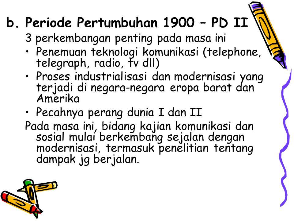 b. Periode Pertumbuhan 1900 – PD II